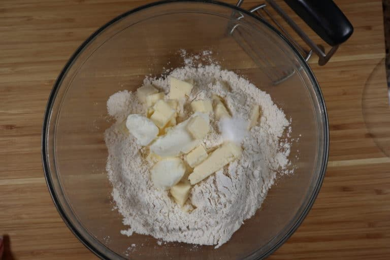 pie dough ingredients in bowl