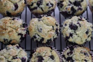 blueberry muffins on cooling rack