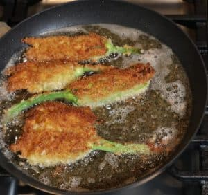 frying squash blossom poppers