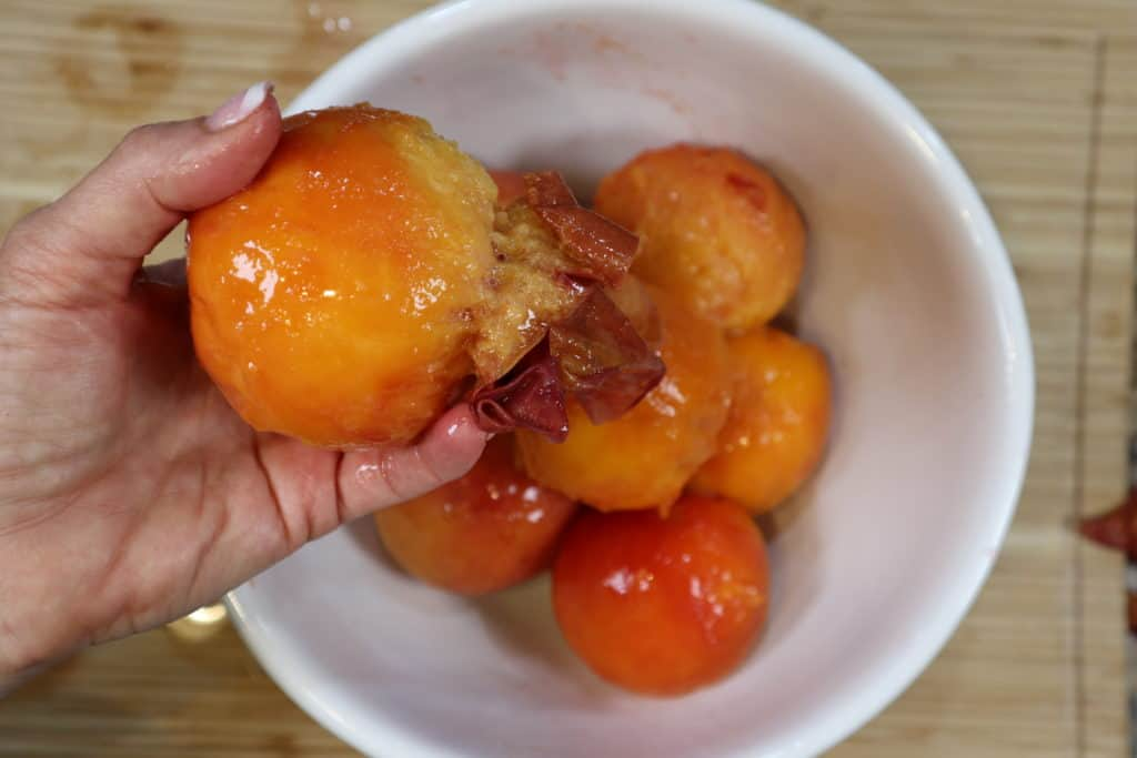 pealed peaches