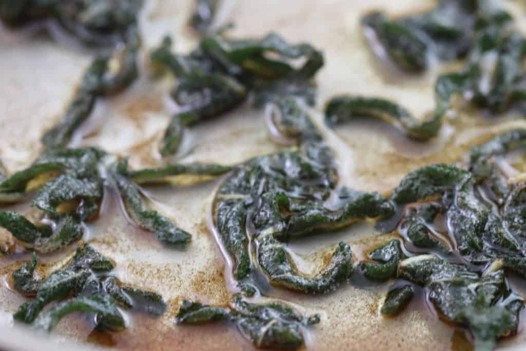 Sage ribbons in browned butter