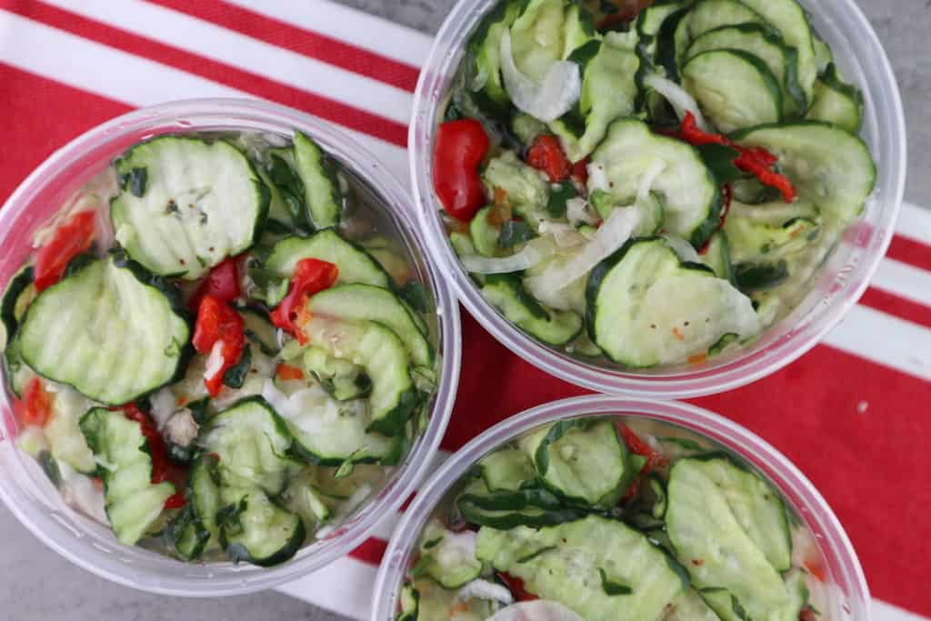 sweet cucumber pickles in freezer containers