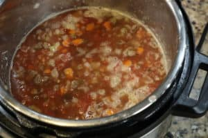 beef barley soup in instant pot before cooking