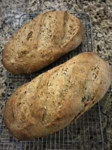 loaves of artisan whole grain bread