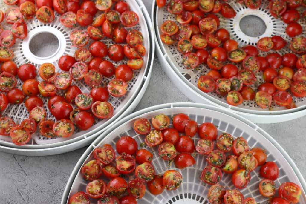 cherry tomatoes on drying rack