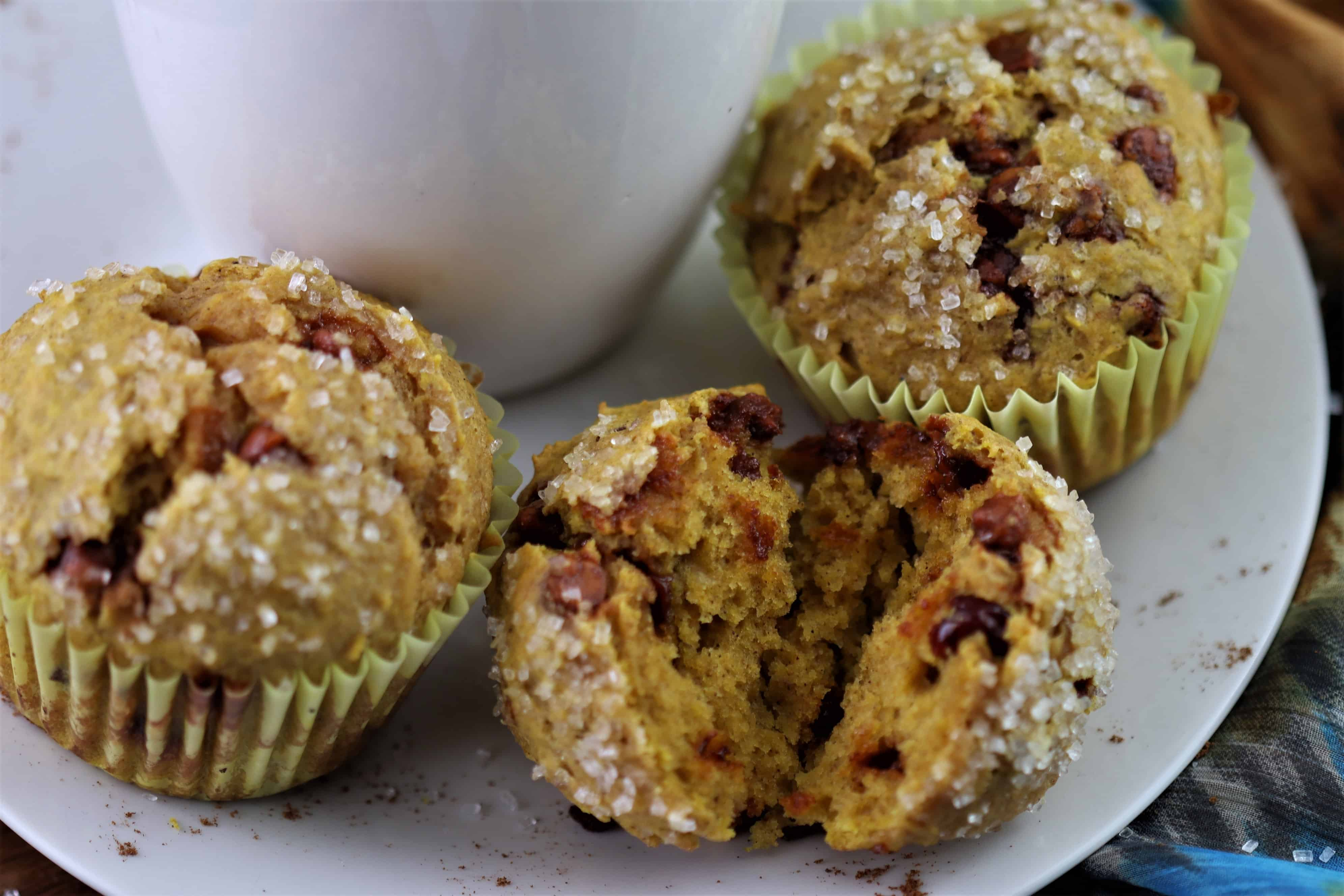 Pumpkin Cranberry Muffins with Cinnamon Chips