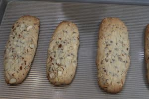 almond mini chocolate chip biscotti after first baking