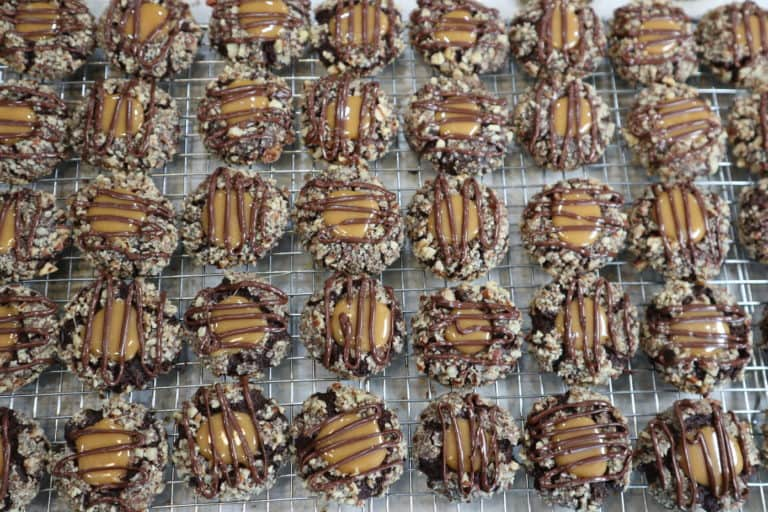 caramel chocolate thumbprint cookies