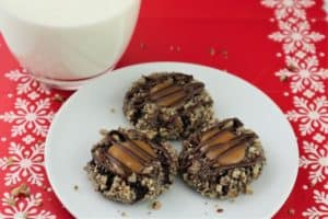 Caramel Pecan – Chocolate Thumbprint Cookies