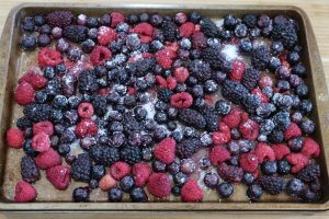 mixed berries on a sheet pan