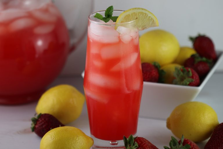 strawberry lemonade in a tall glass
