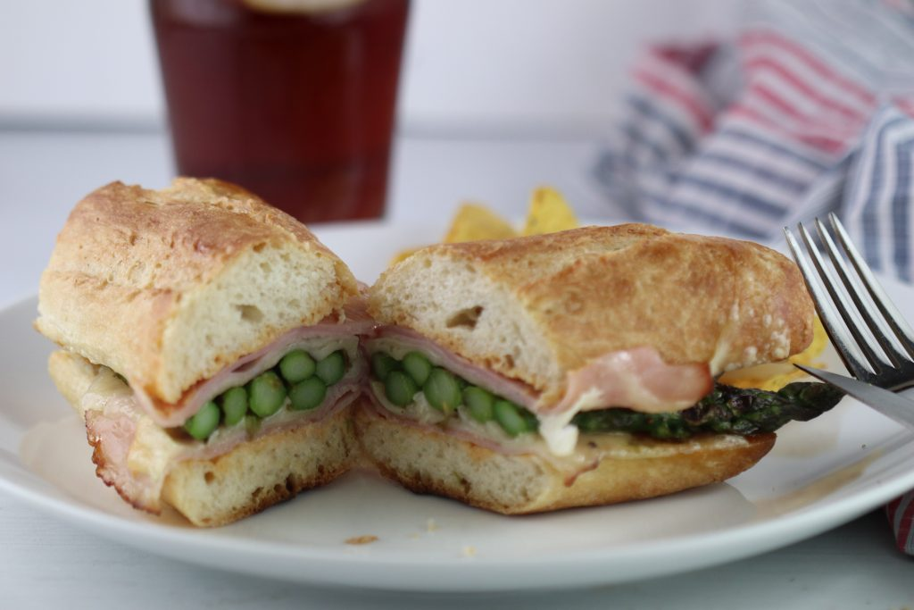 Grilled asparagus, ham, and swiss hot sandwich