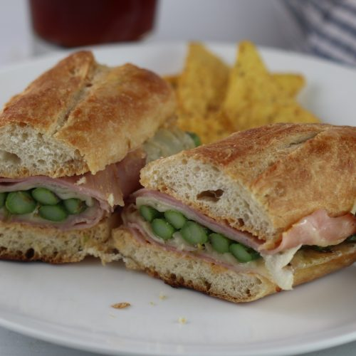 grilled asparagus, ham and swiss sandwich
