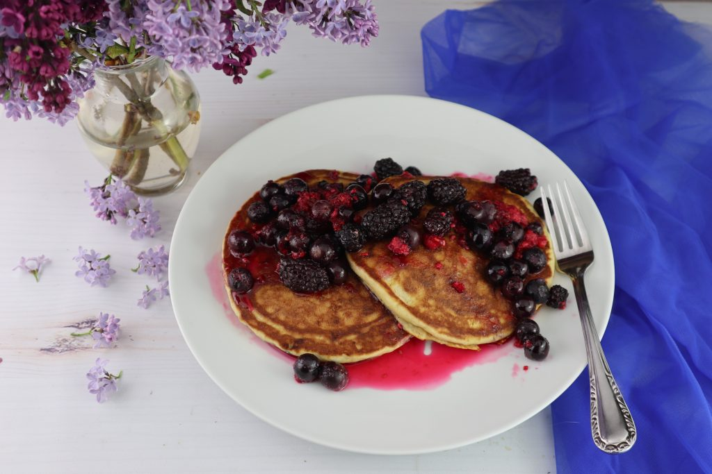 brown butter pancakes with sheet pan berries