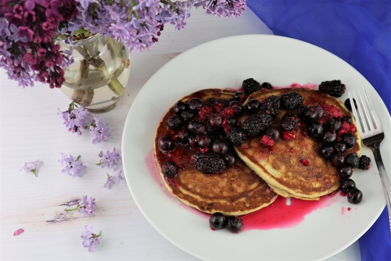 brown butter pancakes with berries