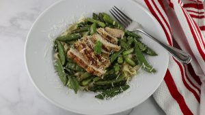 asparagus, sugar-pod peas, fettucini with chicken