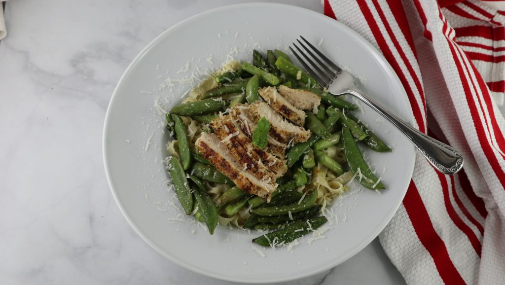 asparagus, sugar-pod peas, chicken pasta bowl.