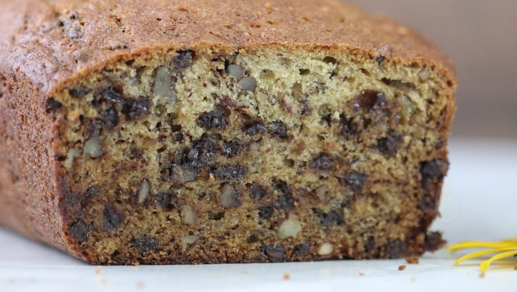 Banana Nut Bread with Mini Chocolate Chips.