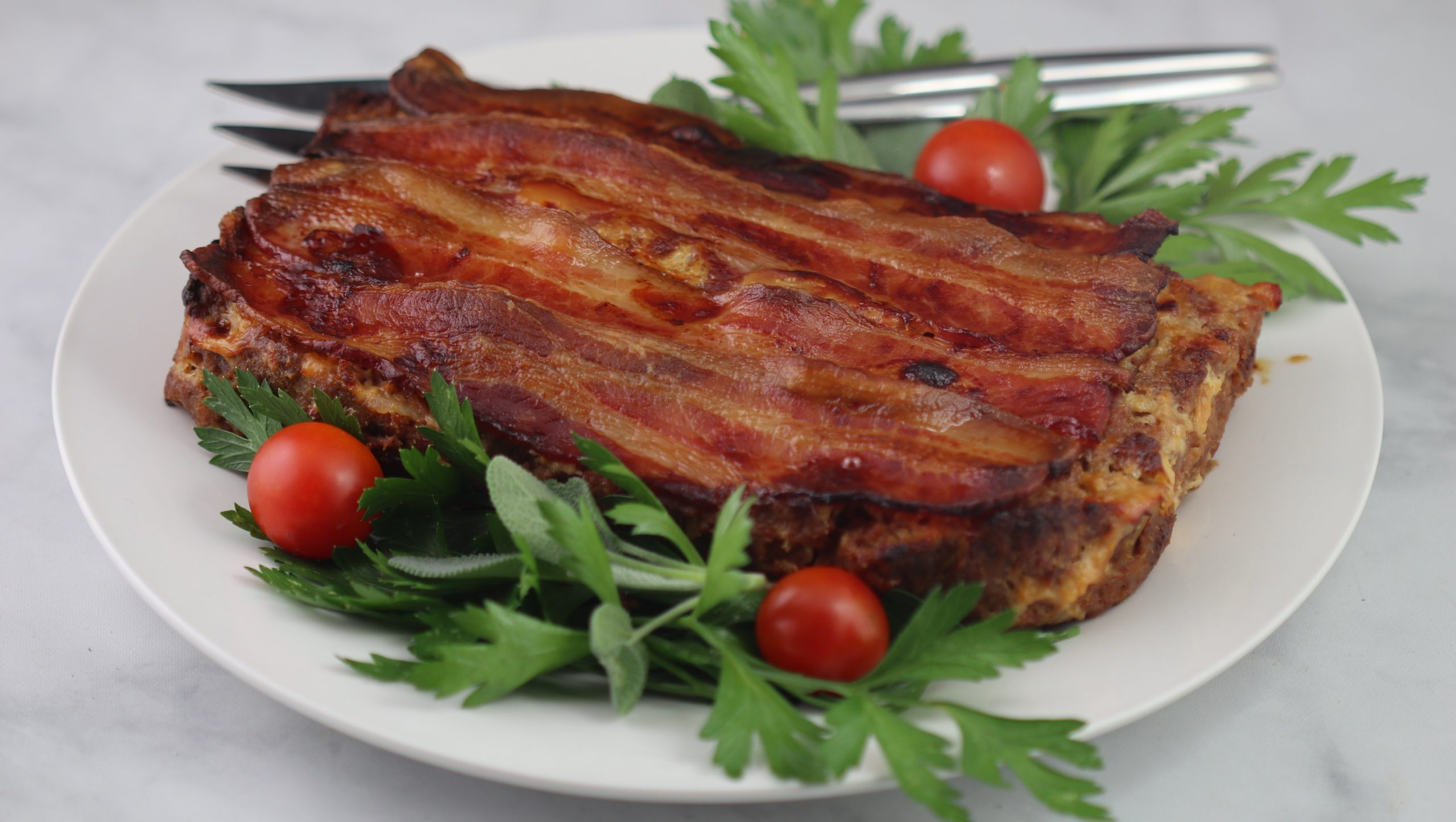 Meatloaf topped with Bacon