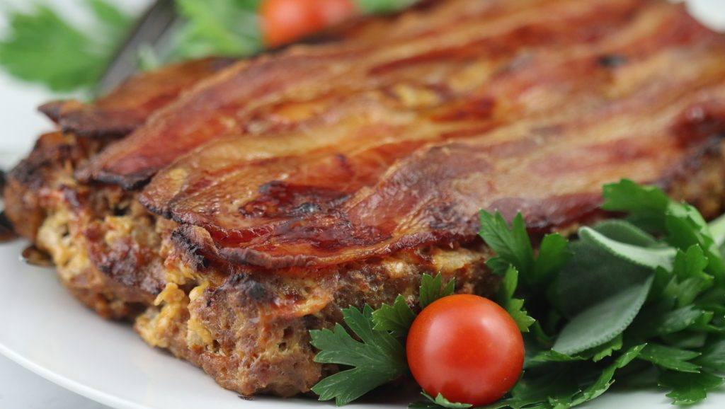 meatloaf with a bacon topping