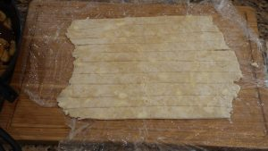 pie crust cut into strips
