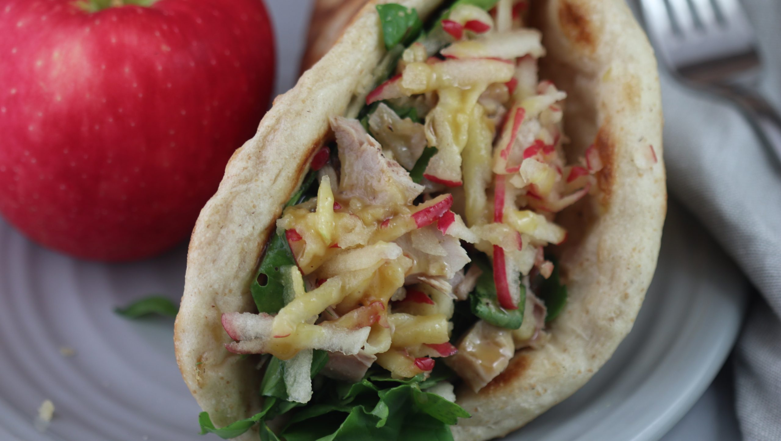 Chicken and Apple in Naan with Honey Mustard