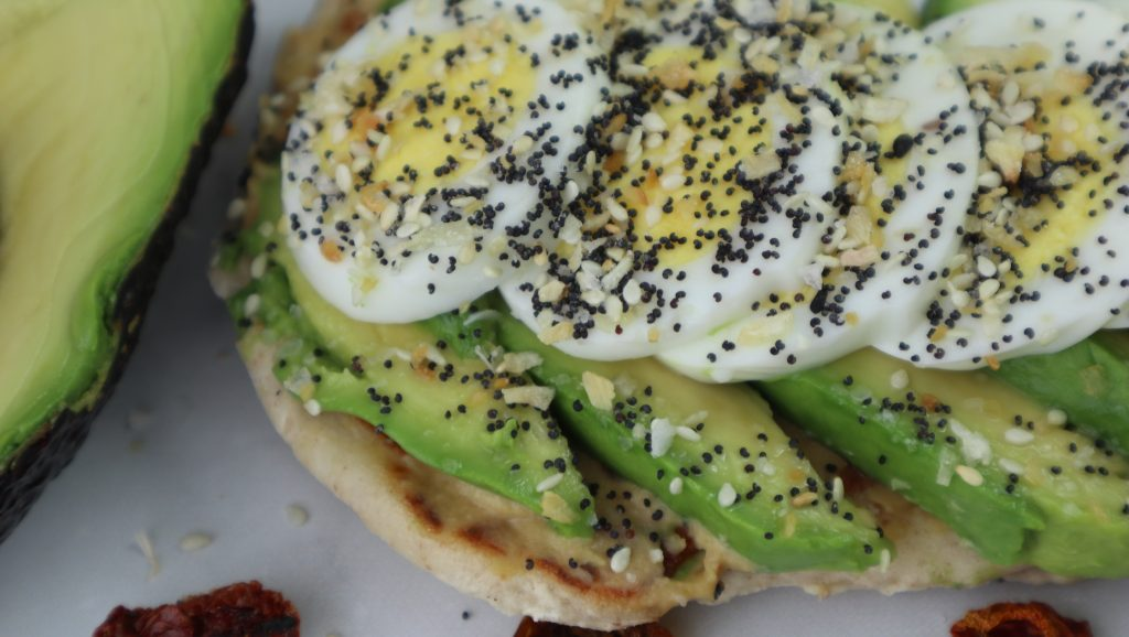 Toasted Naan with avocado and egg