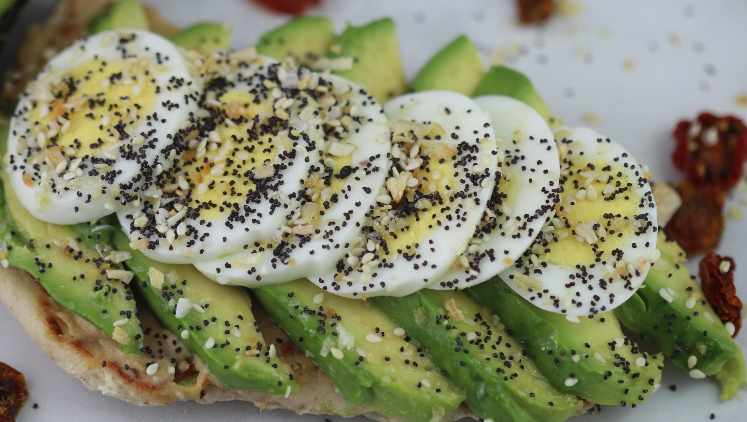 Toasted Naan with Avocado and Egg sandwich.