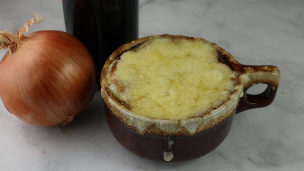 French onion soup in a crock