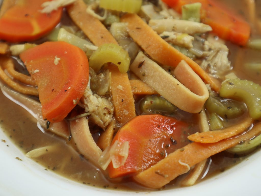 chicken soup with tri-color pasta