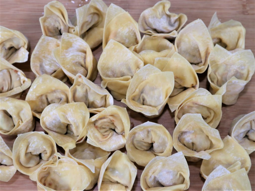 homemade wontons, uncooked