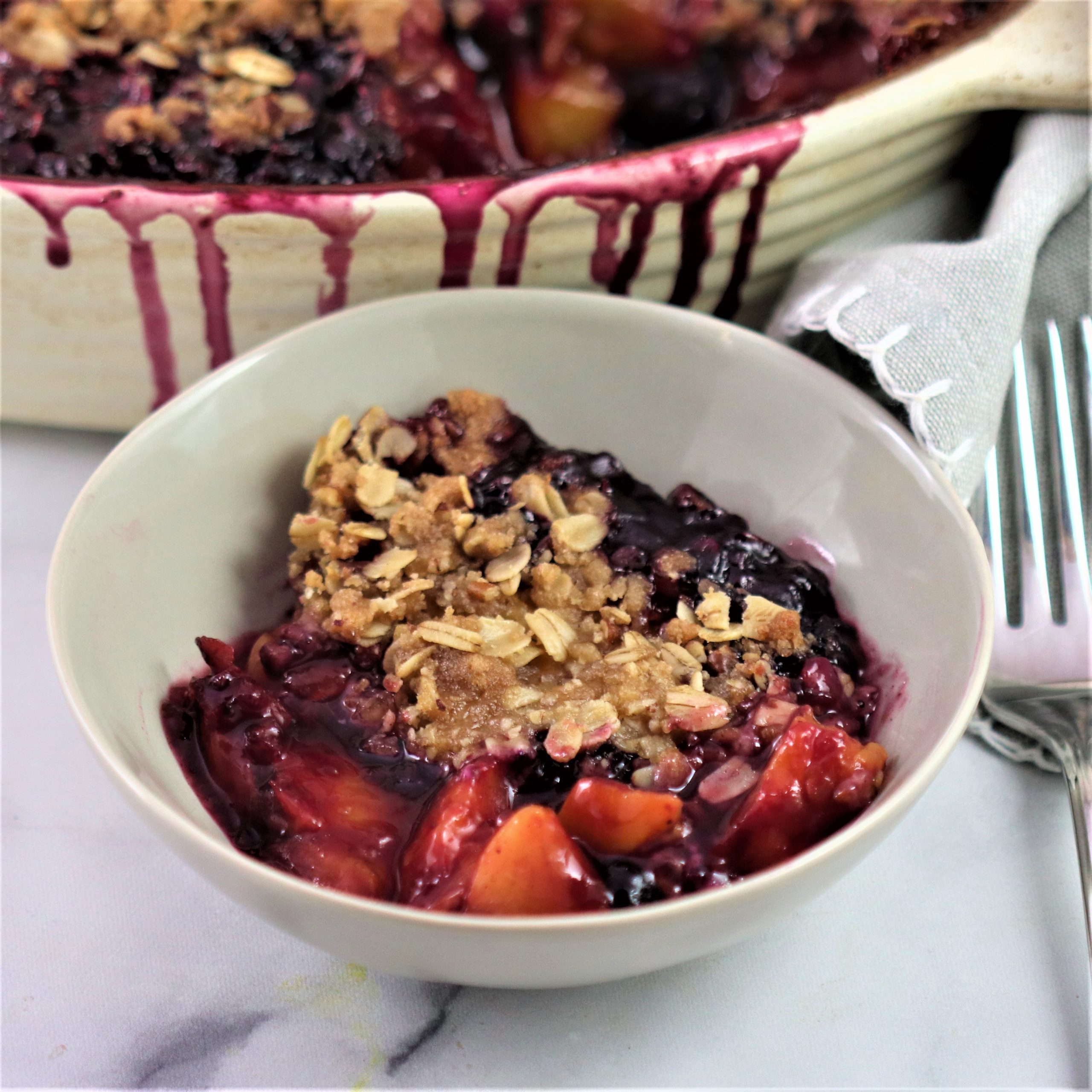 You are currently viewing Peach and Blueberry Crisp – Vegan and Gluten-Free